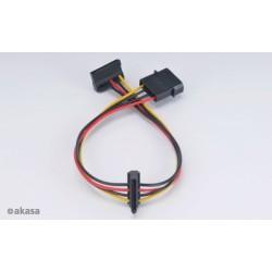 AKASA - 4-pin molex na 2x 15-pin Sata adaptér