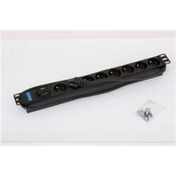 """19"""" 8xCZ zásuvka,bleskojistka,3x1.5mm 2m RAL9005"""