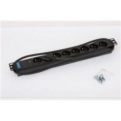 """19"""" 8xCZ zás.,kontrolka,3x1.5mm 2m CZ-DE,RAL9005"""