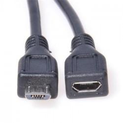 PremiumCord Kabel prodlužovací micro USB 2.0 M-F, černý 2m