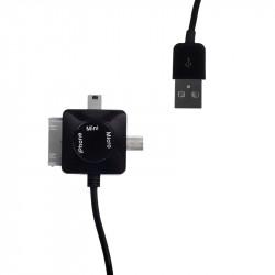WE Datový kabel micro/mini USB/iPhone4 100cm černý