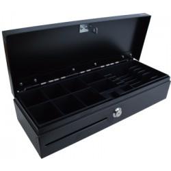 Pokladní zásuvka Flip top FT-460V-RJ10P10C, bez kabelu, se zamykatelným víkem, černá